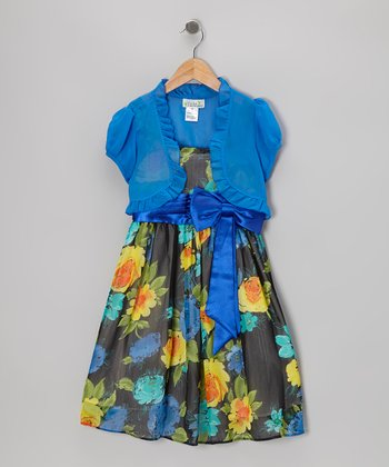 Royal Blue & Black Triple Blossom Dress & Shrug - Girls