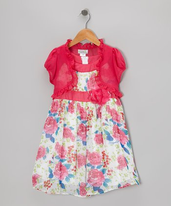 Fuchsia Floral Dress & Shrug - Girls