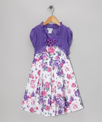 Purple & Off-White Floral Dress & Shrug - Girls