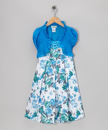 Turquoise & Off-White Floral Dress & Shrug - Toddler & Girls