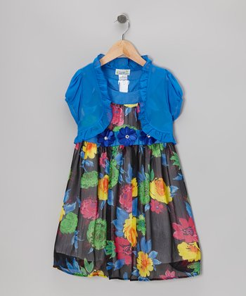 Royal Blue & Black Floral Dress & Shrug - Girls
