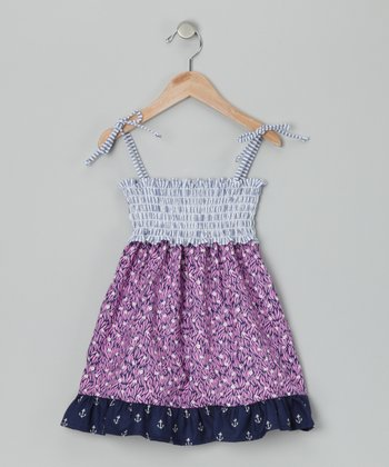 Navy & Pink Smocked Dana Dress - Infant, Toddler & Girls