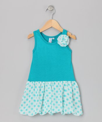 Turquoise Bubble Liza Dress - Toddler & Girls