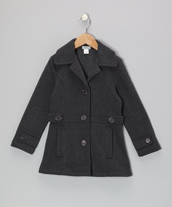 Charcoal Double-Pocket Coat - Girls