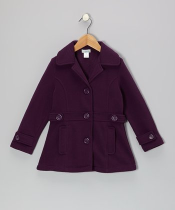 Purple Double-Pocket Coat - Toddler & Girls