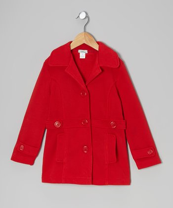 Red Double-Pocket Coat - Toddler & Girls