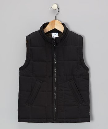 Black Zip-Up Puffer Vest - Toddler & Girls