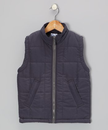 Charcoal Zip-Up Puffer Vest - Toddler & Girls