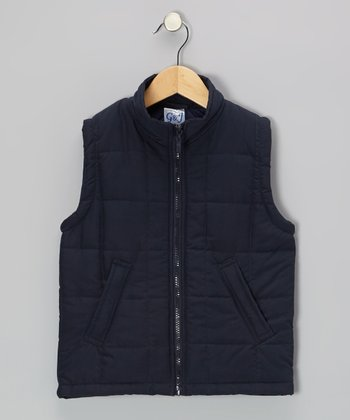 Navy Zip-Up Puffer Vest - Toddler & Girls