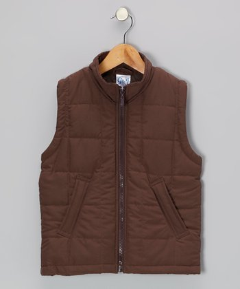 Brown Zip-Up Puffer Vest - Toddler & Girls