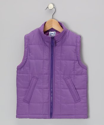 Violet Zip-Up Puffer Vest - Toddler & Girls