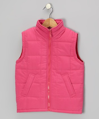 Fuchsia Zip-Up Puffer Vest - Toddler & Girls
