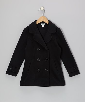 Black Peacoat - Toddler & Girls