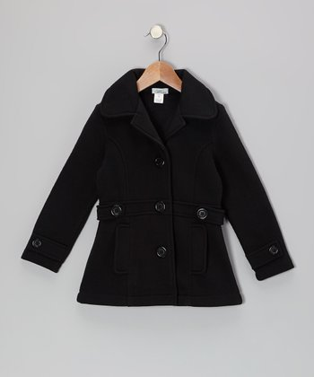 Black Double-Pocket Coat - Toddler & Girls