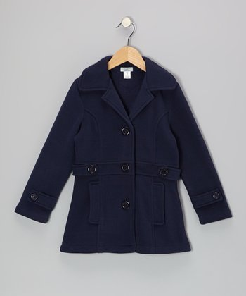 Navy Double-Pocket Coat - Toddler & Girls