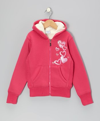 Fuchsia 'Love' Hooded Jacket - Toddler & Girls