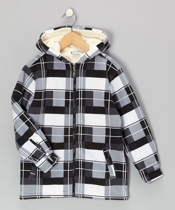 Black Geometric Hooded Jacket - Toddler & Boys