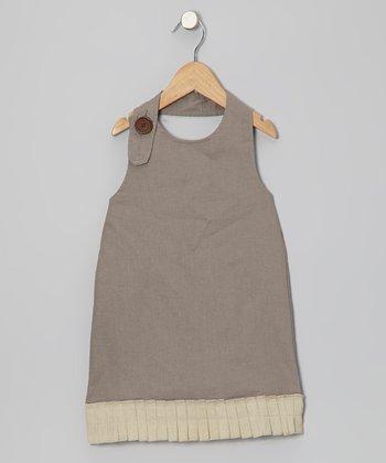 Taupe Beach Linen Halter Dress - Toddler & Girls