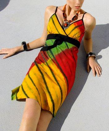 Yellow & Green Surplice Dress