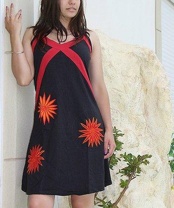 Black & Orange Sleeveless Dress