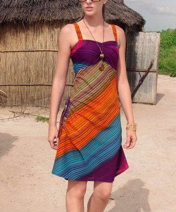 Purple & Orange Sleeveless Dress
