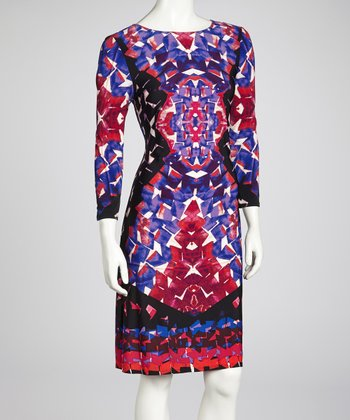 Purple & Fuchsia Three-Quarter-Sleeve Dress