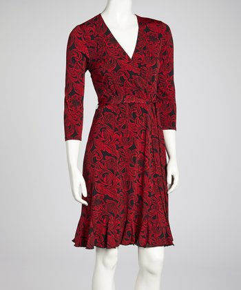 Black & Red Three-Quarter-Sleeve Wrap Dress