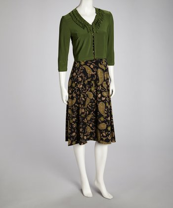Army Green Paisley Dress & Cardigan