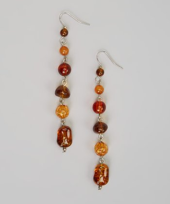 Amber Beaded Chain Earrings