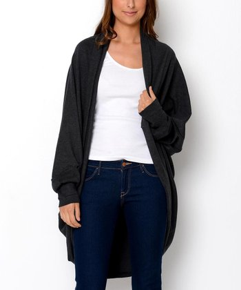 Melange Gray Open Duster - Women