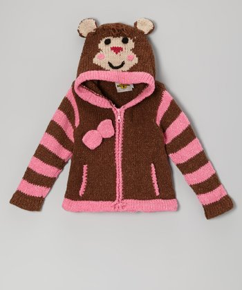 Brown & Pink Monkey Wool-Blend Zip-Up Hoodie - Toddler & Girls