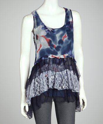 Blue & Black Tie-Dye Ruffle Tunic