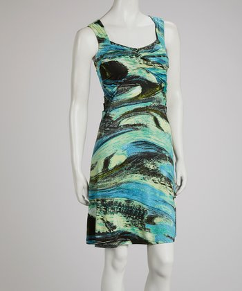 Teal & Green Abstract Dress