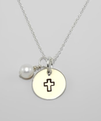 Pearl & Sterling Silver Cross Pendant Necklace