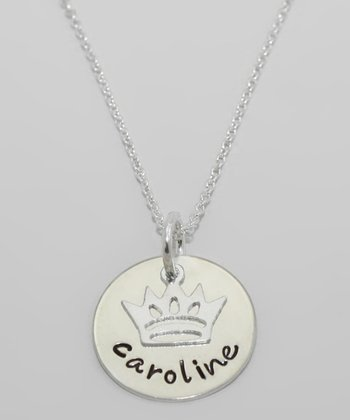 Sterling Silver Personalized Crown Pendant Necklace