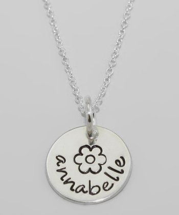 Sterling Silver Personalized Flower Pendant Necklace
