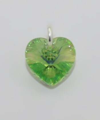 Green August Peridot Swarovski Crystal Heart Charm