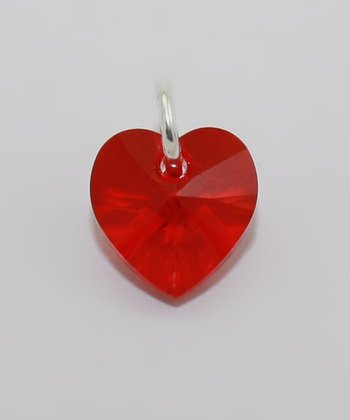 Red July Swarovski Crystal Heart Charm