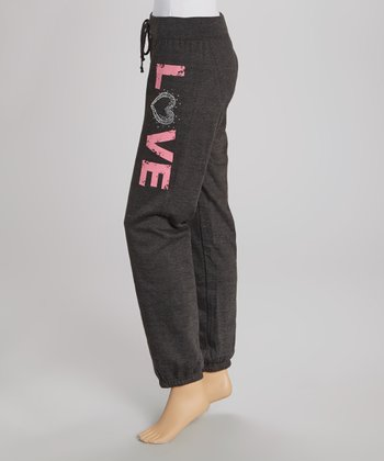 Charcoal 'Love' Sweatpants