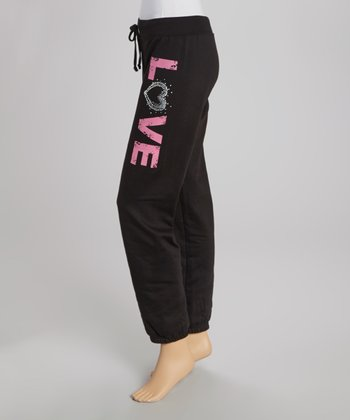 Black 'Love' Sweatpants
