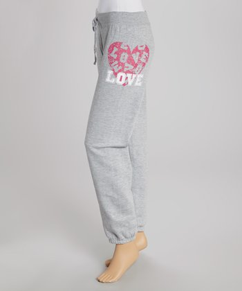 Heather Gray Rhinestone 'Love' Sweatpants