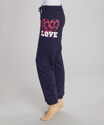 Navy Rhinestone 'Love' Sweatpants