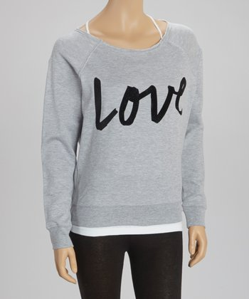 Heather Gray 'Love' Fleece Pullover