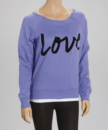 Blue Violet 'Love' Fleece Pullover