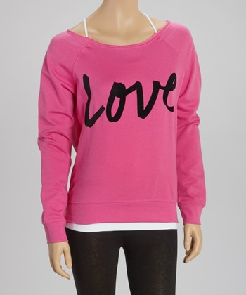 Pink 'Love' Fleece Pullover