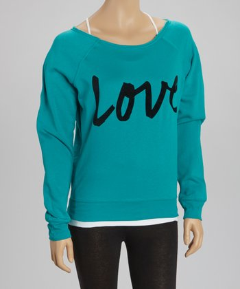 Teal 'Love' Fleece Pullover