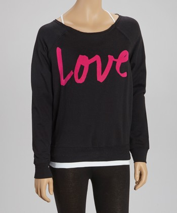 Black 'Love' Fleece Pullover