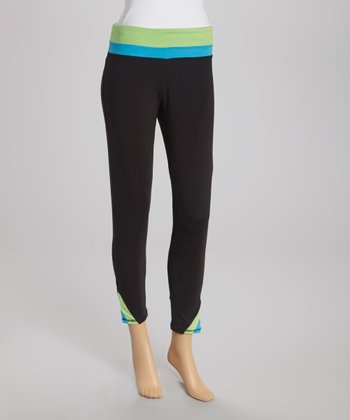 Black & Lime Capri Pants
