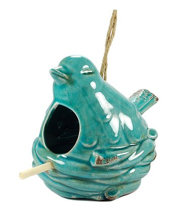 Blue Ceramic Birdhouse