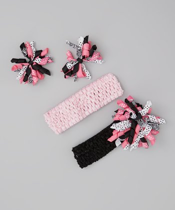 Pink & Black Korker Bow Headband Set